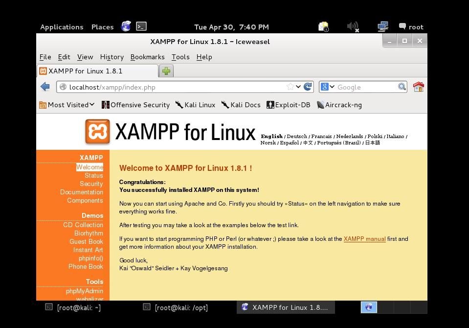 Kali Linux Localhost Kurulumu