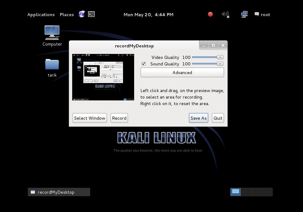 Kali Linux Ekran Görüntüsünü Video Olarak Kaydetme