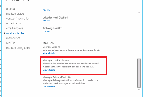Exchange Server 2013 Kullanıcı  MailBox Kota Ayarlama işlemi